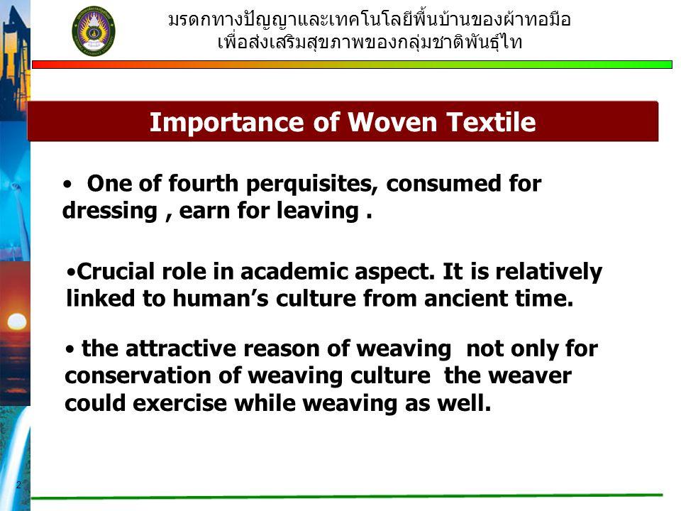 2 มรดกทางปัญญาและเทคโนโลยีพื้นบ้านของผ้าทอมือ เพื่อส่งเสริมสุขภาพของกลุ่มชาติพันธุ์ไท Importance of Woven Textile One of fourth perquisites, consumed for dressing, earn for leaving.