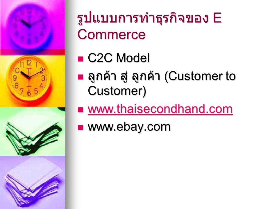 รูปแบบการทำธุรกิจของ E Commerce C2C Model C2C Model ลูกค้า สู่ ลูกค้า (Customer to Customer) ลูกค้า สู่ ลูกค้า (Customer to Customer) www.thaisecondhand.com www.thaisecondhand.com www.thaisecondhand.com www.ebay.com www.ebay.com