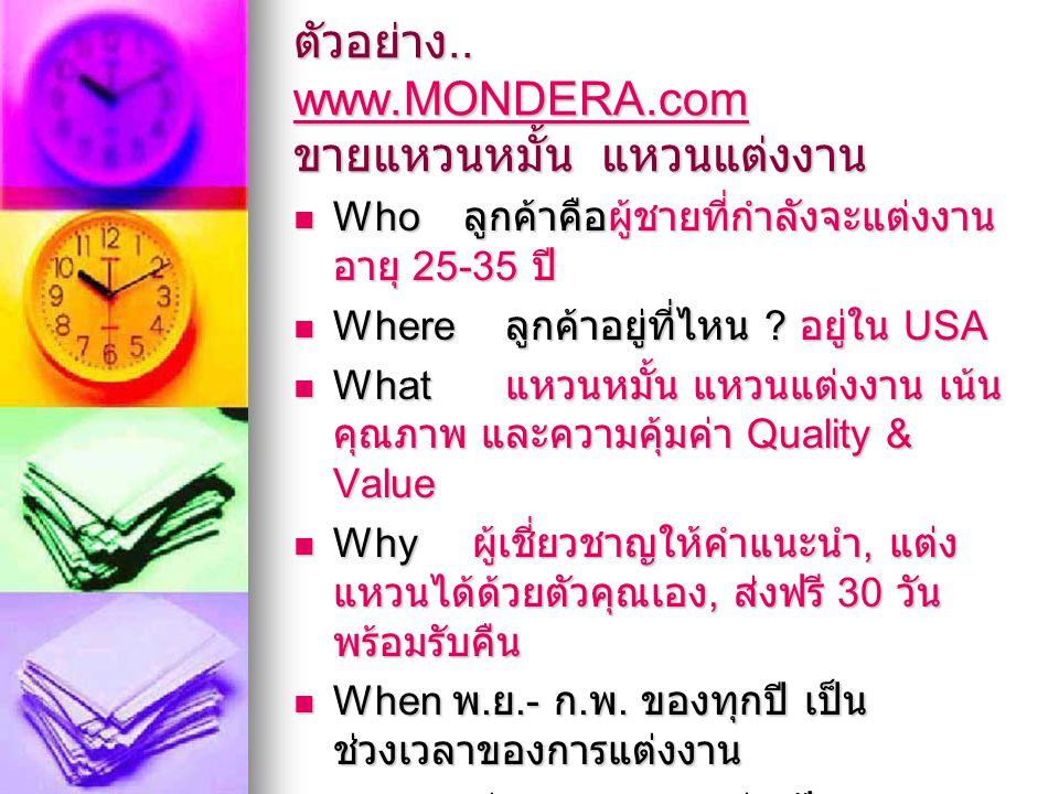 ตัวอย่าง.. www.MONDERA.com ขายแหวนหมั้น แหวนแต่งงาน www.MONDERA.com Who ลูกค้าคือผู้ชายที่กำลังจะแต่งงาน อายุ 25-35 ปี Who ลูกค้าคือผู้ชายที่กำลังจะแต