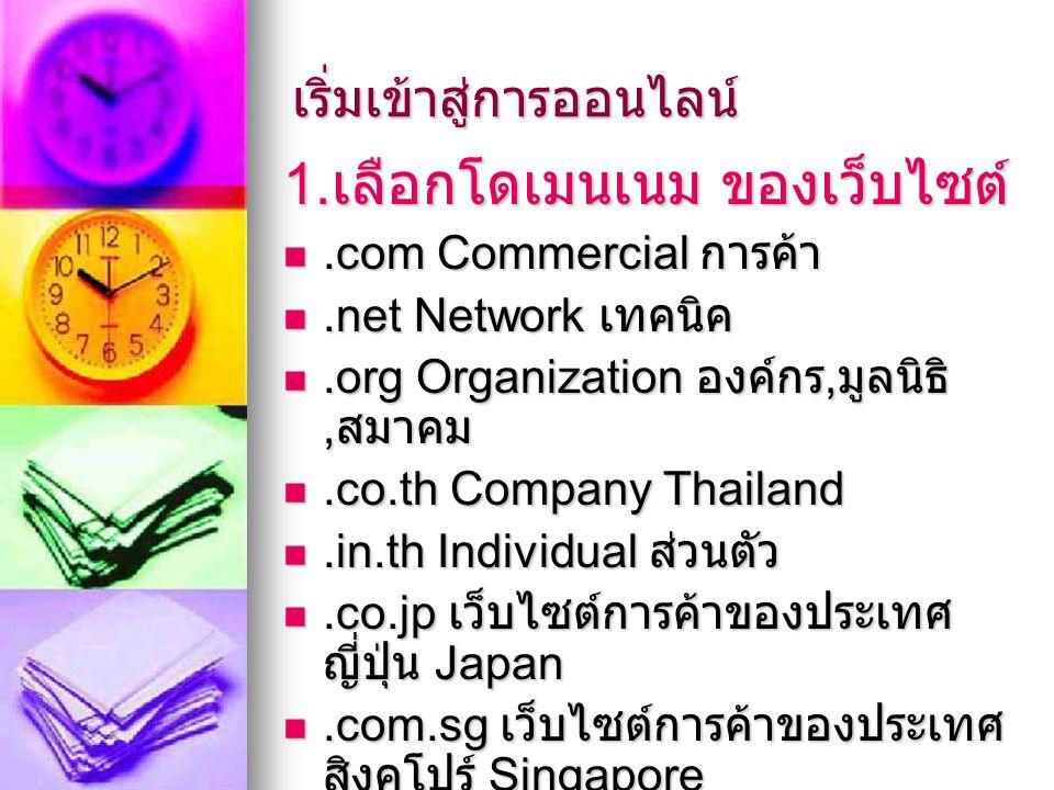 เริ่มเข้าสู่การออนไลน์ 1. เลือกโดเมนเนม ของเว็บไซต์.com Commercial การค้า.com Commercial การค้า.net Network เทคนิค.net Network เทคนิค.org Organization
