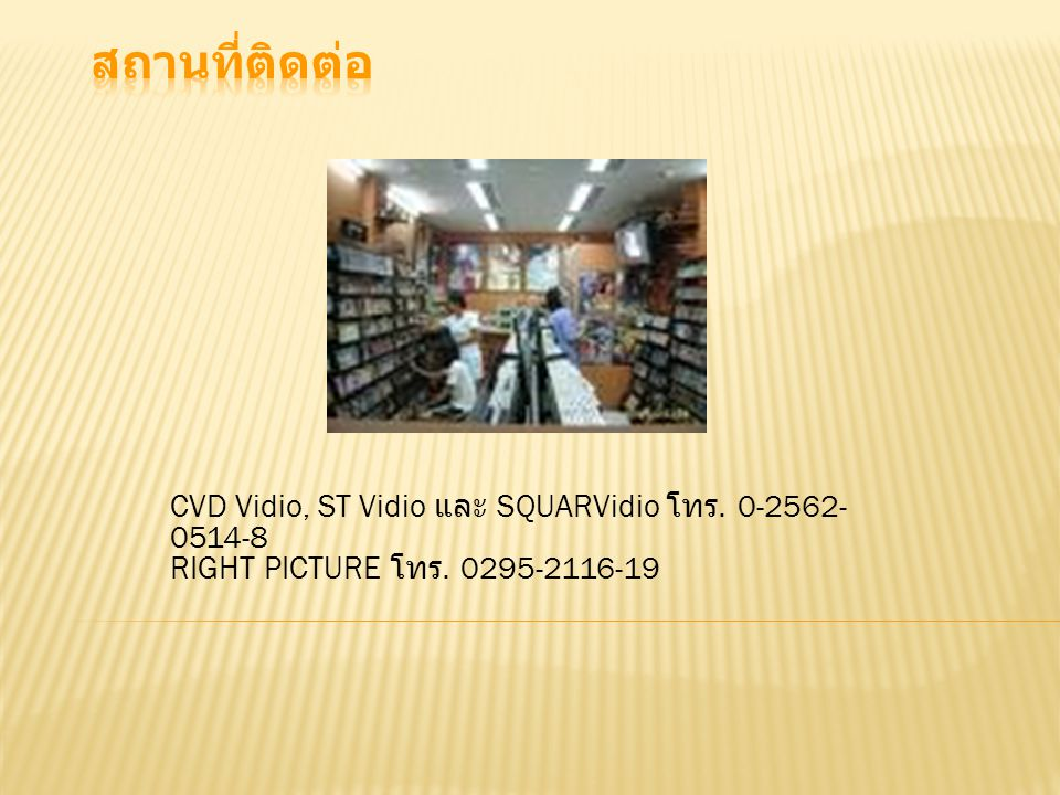 CVD Vidio, ST Vidio และ SQUARVidio โทร. 0-2562- 0514-8 RIGHT PICTURE โทร. 0295-2116-19