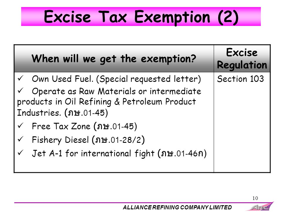 10 Excise Tax Exemption (2) When will we get the exemption? Excise Regulation Own Used Fuel. (Special requested letter) Operate as Raw Materials or in