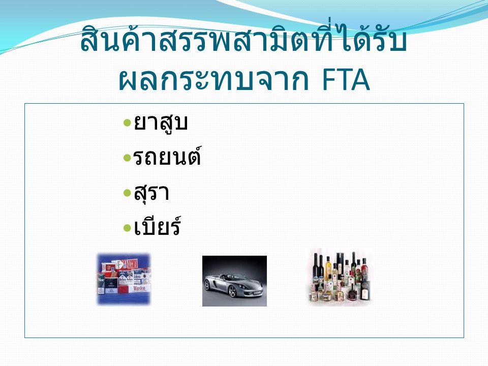 สินค้าสรรพสามิตที่ได้รับ ผลกระทบจาก FTA ยาสูบ รถยนต์ สุรา เบียร์