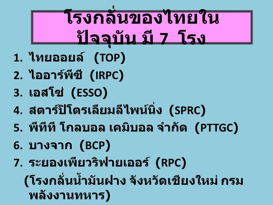 โรงกลั่นของไทยใน ปัจจุบัน มี 7 โรง 1.ไทยออยล์ (TOP) 2.
