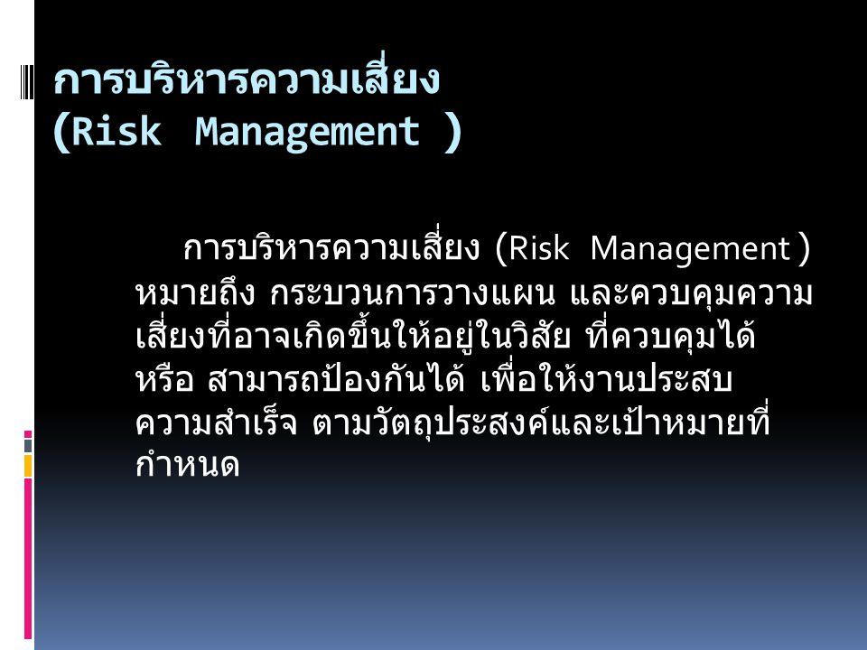 การบริหารความเสี่ยง (Risk Management ) การบริหารความเสี่ยง (Risk Management ) หมายถึง กระบวนการวางแผน และควบคุมความ เสี่ยงที่อาจเกิดขึ้นให้อยู่ในวิสัย