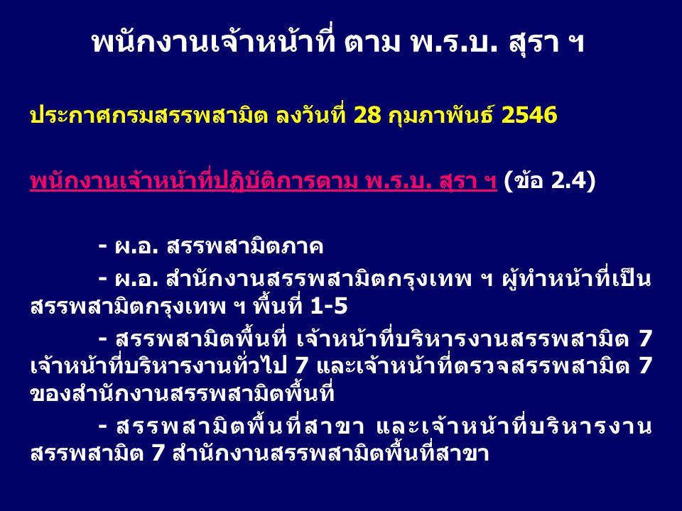 ประกาศกรมสรรพสามิต ลงวันที่ 28 กุมภาพันธ์ 2546 พนักงานเจ้าหน้าที่ปฏิบัติการตาม พ.ร.บ. สุรา ฯ (ข้อ 2.4) - ผ.อ. สรรพสามิตภาค - ผ.อ. สำนักงานสรรพสามิตกรุ