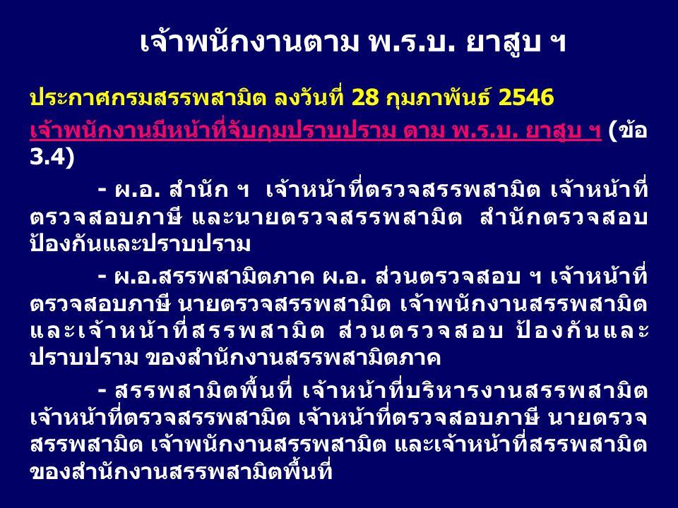 ประกาศกรมสรรพสามิต ลงวันที่ 28 กุมภาพันธ์ 2546 เจ้าพนักงานมีหน้าที่จับกุมปราบปราม ตาม พ.ร.บ. ยาสูบ ฯ (ข้อ 3.4) - ผ.อ. สำนัก ฯ เจ้าหน้าที่ตรวจสรรพสามิต