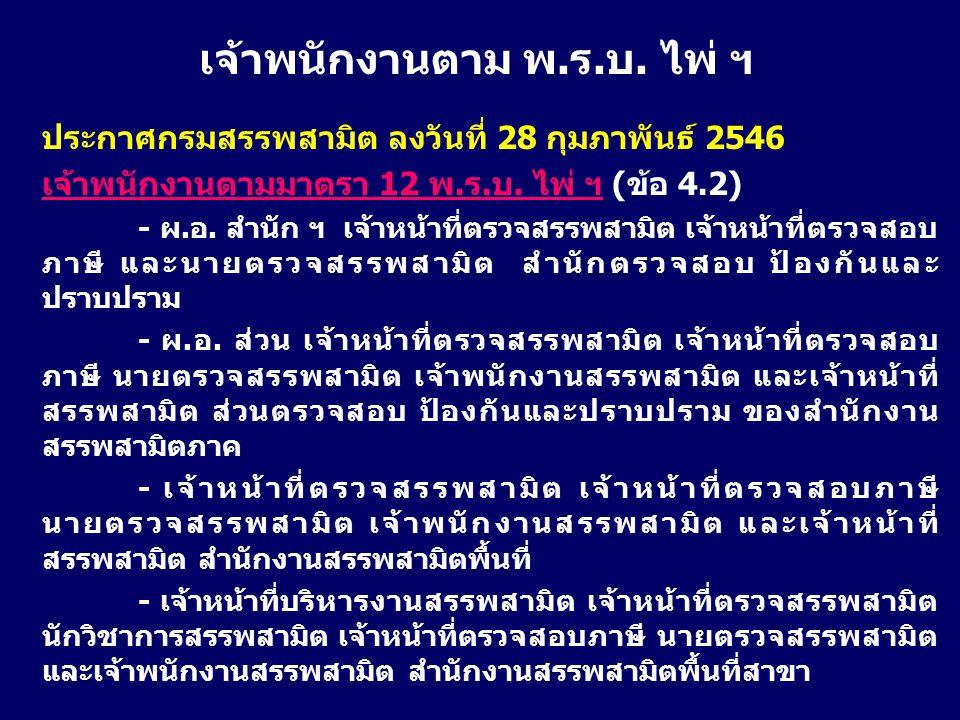 ประกาศกรมสรรพสามิต ลงวันที่ 28 กุมภาพันธ์ 2546 เจ้าพนักงานตามมาตรา 12 พ.ร.บ. ไพ่ ฯ (ข้อ 4.2) - ผ.อ. สำนัก ฯ เจ้าหน้าที่ตรวจสรรพสามิต เจ้าหน้าที่ตรวจสอ