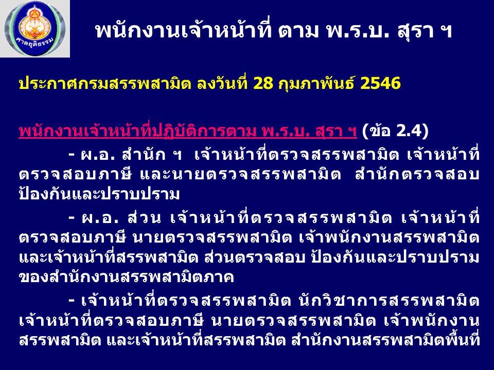 ประกาศกรมสรรพสามิต ลงวันที่ 28 กุมภาพันธ์ 2546 พนักงานเจ้าหน้าที่ปฏิบัติการตาม พ.ร.บ. สุรา ฯ (ข้อ 2.4) - ผ.อ. สำนัก ฯ เจ้าหน้าที่ตรวจสรรพสามิต เจ้าหน้