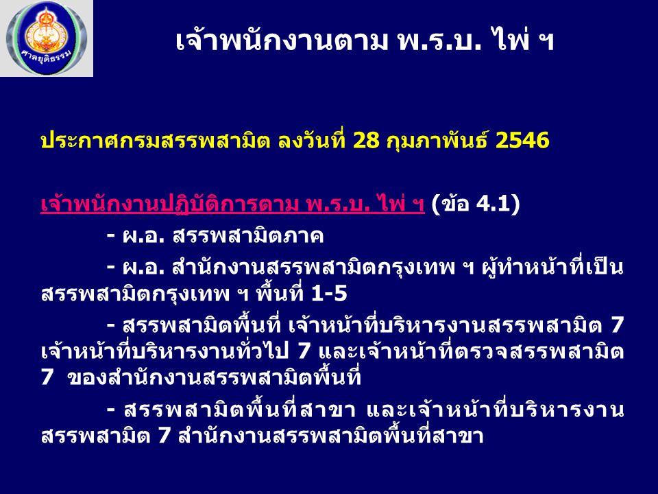 ประกาศกรมสรรพสามิต ลงวันที่ 28 กุมภาพันธ์ 2546 เจ้าพนักงานปฏิบัติการตาม พ.ร.บ. ไพ่ ฯ (ข้อ 4.1) - ผ.อ. สรรพสามิตภาค - ผ.อ. สำนักงานสรรพสามิตกรุงเทพ ฯ ผ