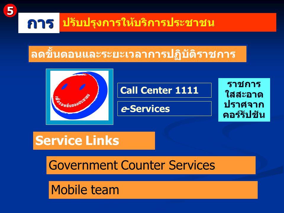 Service Links Government Counter Services Mobile team ลดขั้นตอนและระยะเวลาการปฏิบัติราชการ Call Center 1111 e-Services ราชการ ใสสะอาด ปราศจาก คอร์รัปช