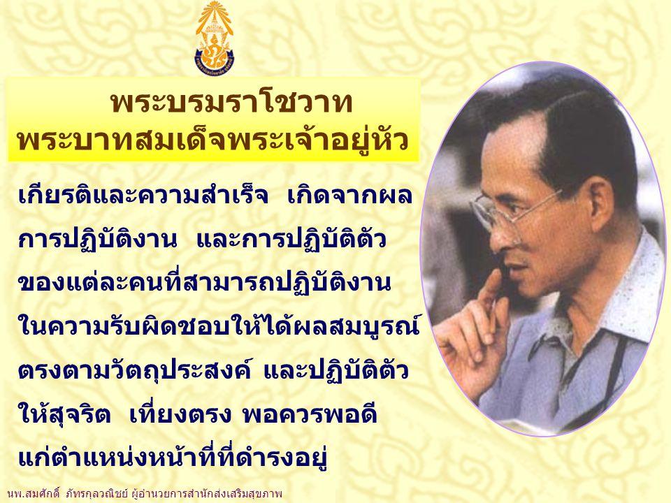 พระบรมราโชวาท พระบาทสมเด็จพระเจ้าอยู่หัว เกียรติและความสำเร็จ เกิดจากผล การปฏิบัติงาน และการปฏิบัติตัว ของแต่ละคนที่สามารถปฏิบัติงาน ในความรับผิดชอบให