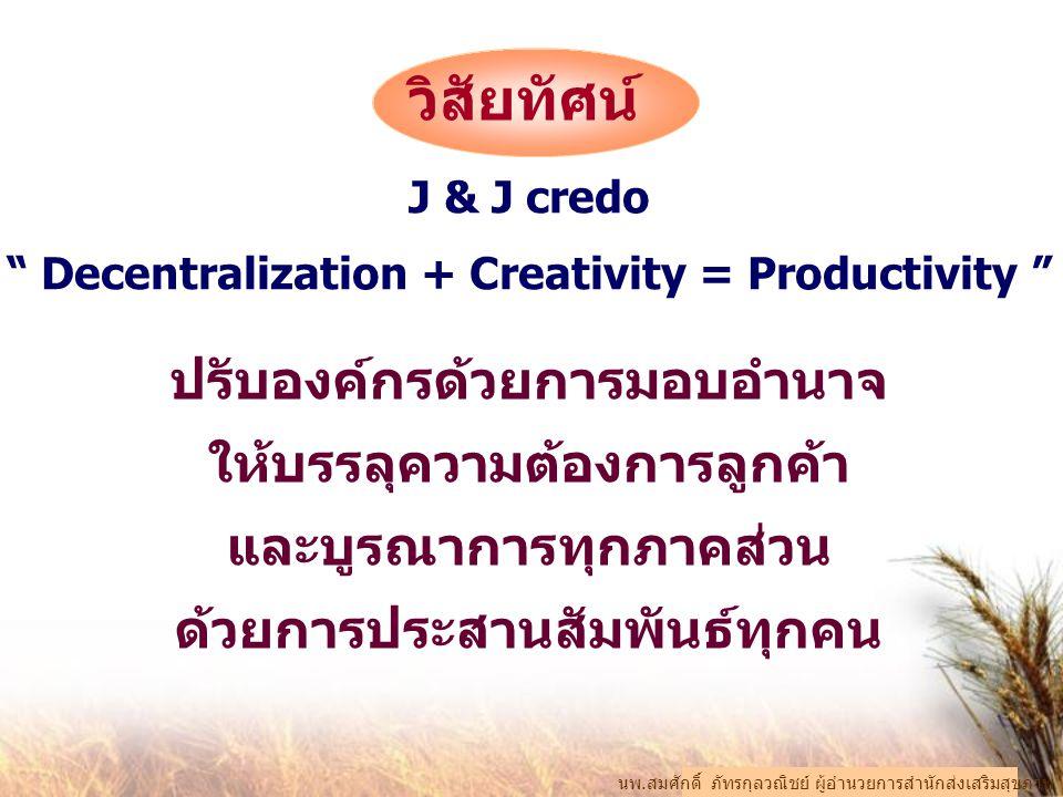 """J & J credo """" Decentralization + Creativity = Productivity """" ปรับองค์กรด้วยการมอบอำนาจ ให้บรรลุความต้องการลูกค้า และบูรณาการทุกภาคส่วน ด้วยการประสานสั"""