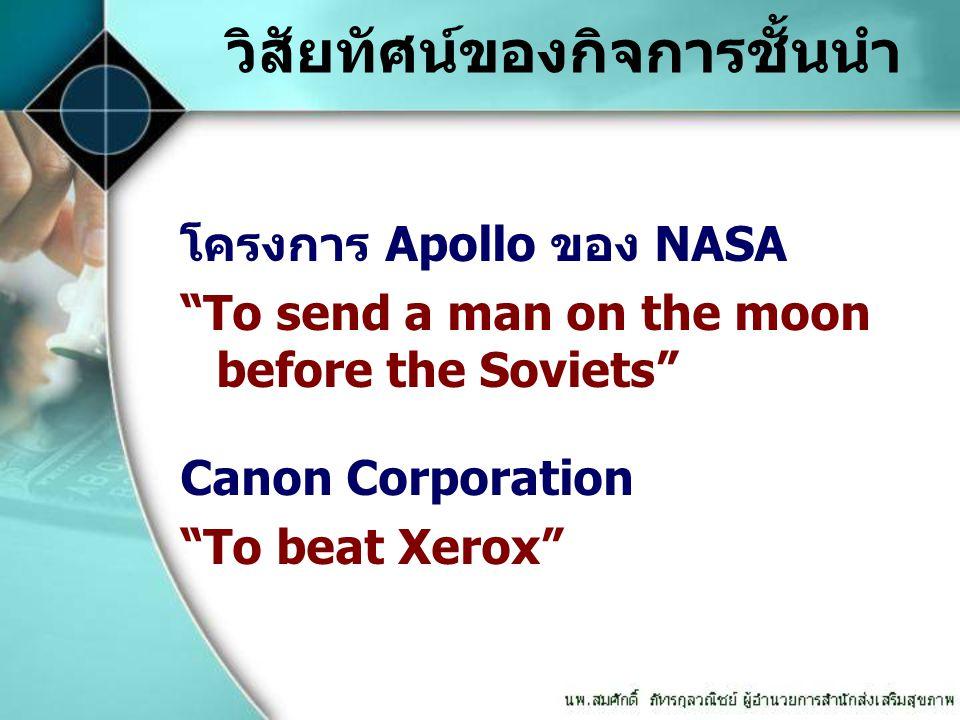 """วิสัยทัศน์ของกิจการชั้นนำ โครงการ Apollo ของ NASA """"To send a man on the moon before the Soviets"""" Canon Corporation """"To beat Xerox"""""""