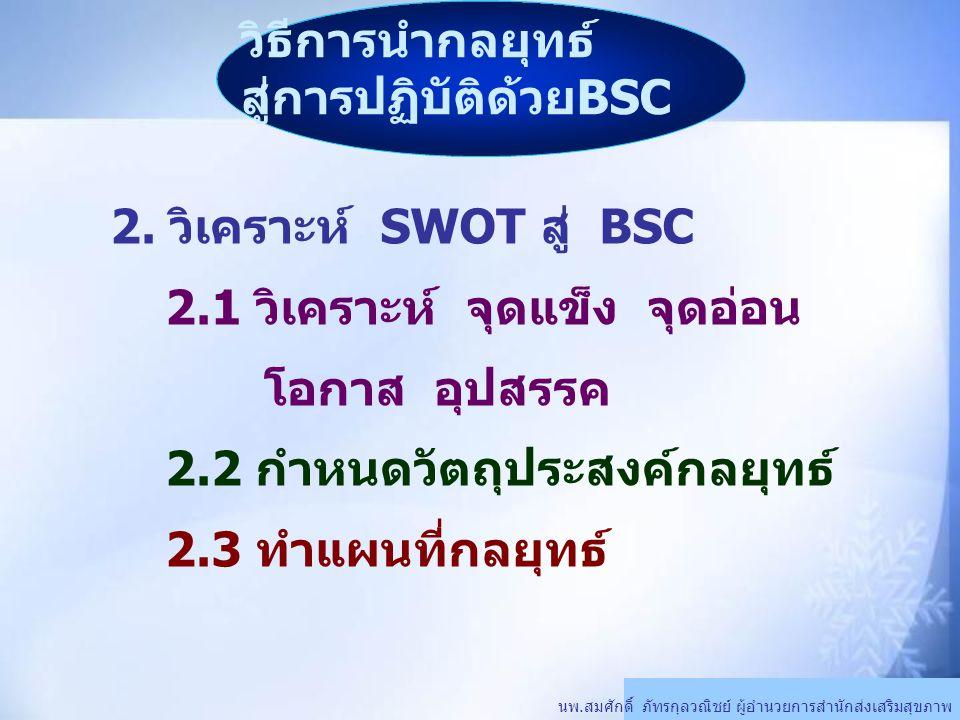 วิธีการนำกลยุทธ์ สู่การปฏิบัติด้วยBSC นพ.สมศักดิ์ ภัทรกุลวณิชย์ ผู้อำนวยการสำนักส่งเสริมสุขภาพ 2. วิเคราะห์ SWOT สู่ BSC 2.1 วิเคราะห์ จุดแข็ง จุดอ่อน