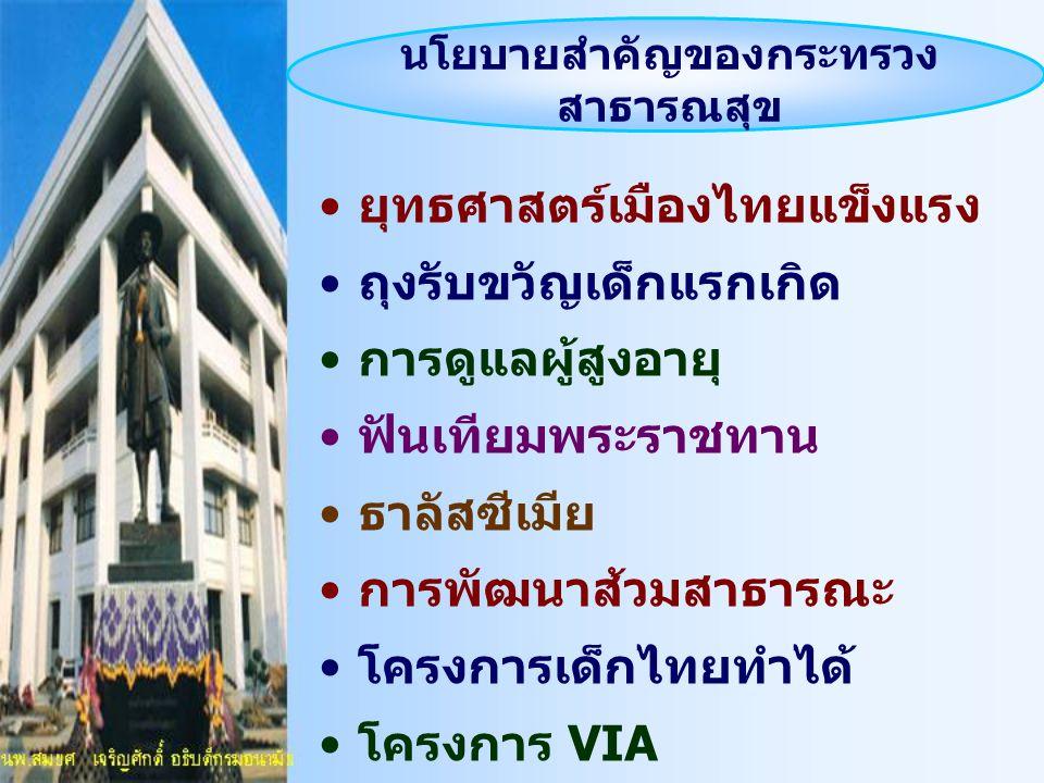 นโยบายสำคัญของกระทรวง สาธารณสุข ยุทธศาสตร์เมืองไทยแข็งแรง ถุงรับขวัญเด็กแรกเกิด การดูแลผู้สูงอายุ ฟันเทียมพระราชทาน ธาลัสซีเมีย การพัฒนาส้วมสาธารณะ โค