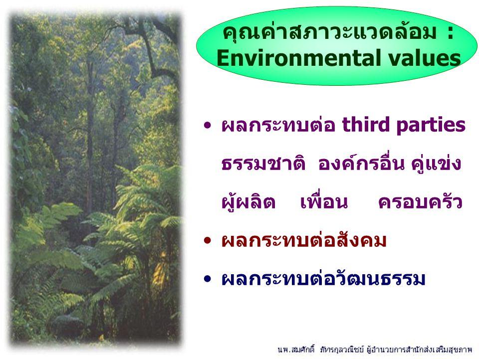 ผลกระทบต่อ third parties ธรรมชาติ องค์กรอื่น คู่แข่ง ผู้ผลิต เพื่อน ครอบครัว ผลกระทบต่อสังคม ผลกระทบต่อวัฒนธรรม คุณค่าสภาวะแวดล้อม : Environmental val