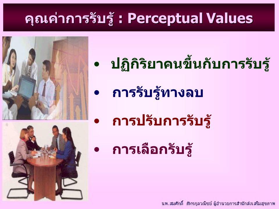 คุณค่าการรับรู้ : Perceptual Values ปฏิกิริยาคนขึ้นกับการรับรู้ การรับรู้ทางลบ การปรับการรับรู้ การเลือกรับรู้