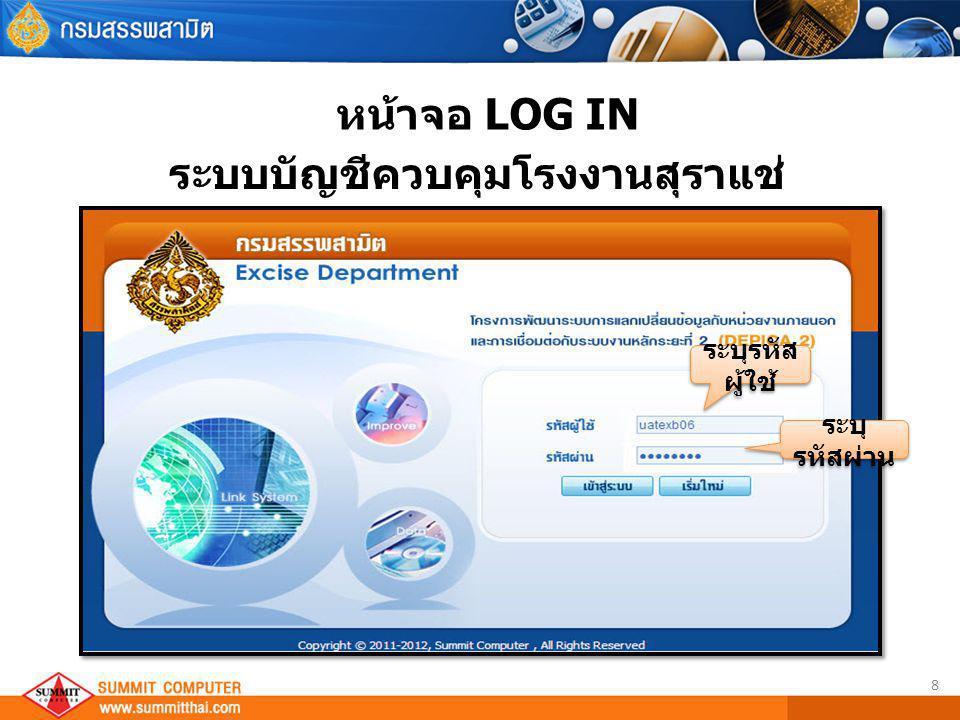 8 หน้าจอ LOG IN ระบุรหัส ผู้ใช้ ระบุ รหัสผ่าน ระบบบัญชีควบคุมโรงงานสุราแช่
