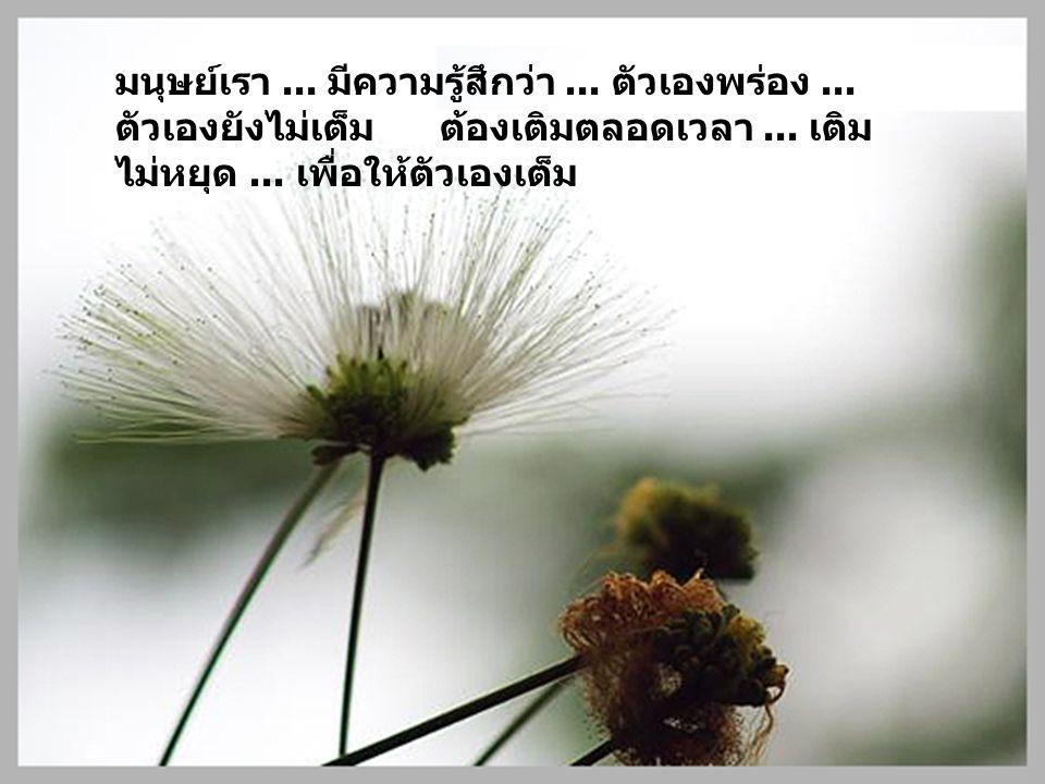 มนุษย์เรา... มีความรู้สึกว่า... ตัวเองพร่อง... ตัวเองยังไม่เต็ม ต้องเติมตลอดเวลา... เติม ไม่หยุด... เพื่อให้ตัวเองเต็ม
