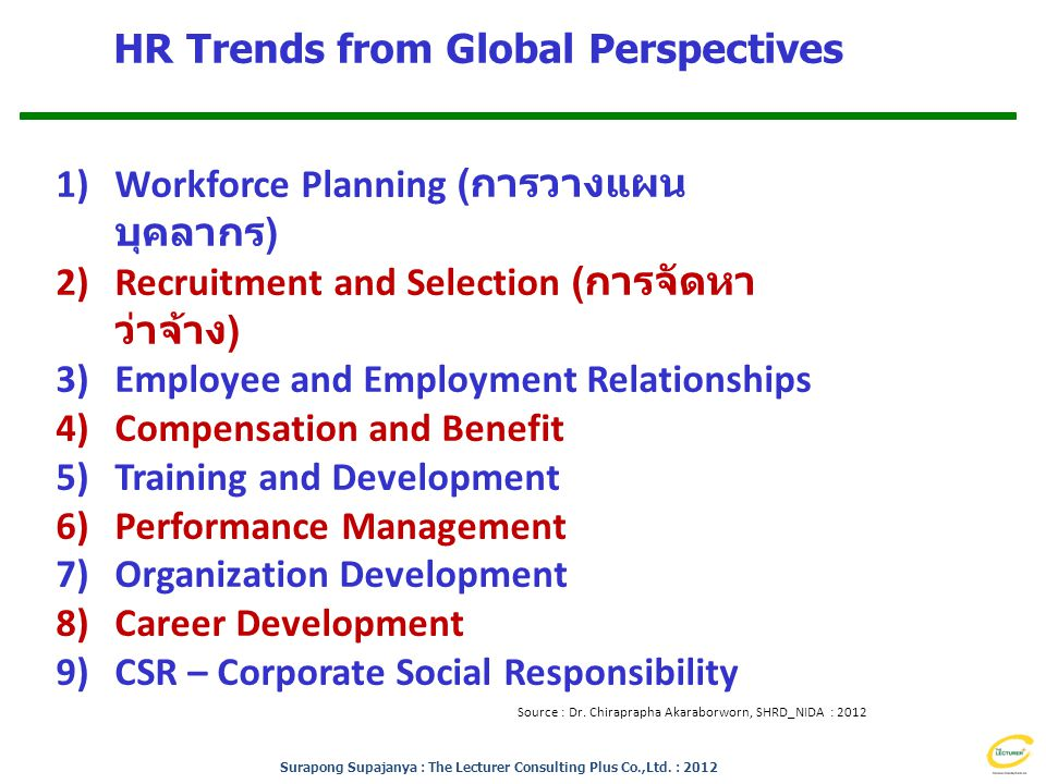 Surapong Supajanya : The Lecturer Consulting Plus Co.,Ltd. : 2012 HR Trends from Global Perspectives Source : Dr. Chiraprapha Akaraborworn, SHRD_NIDA