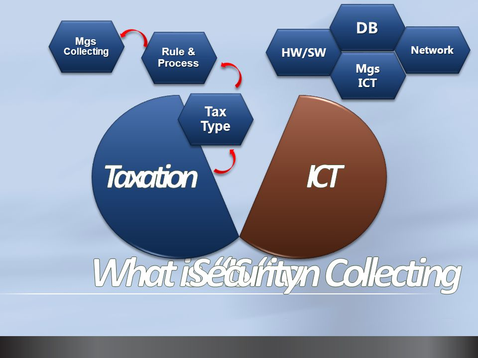 Tax Type Rule & Process Mgs Collecting HW/SWHW/SW DBDB NetworkNetwork MgsICTMgsICT