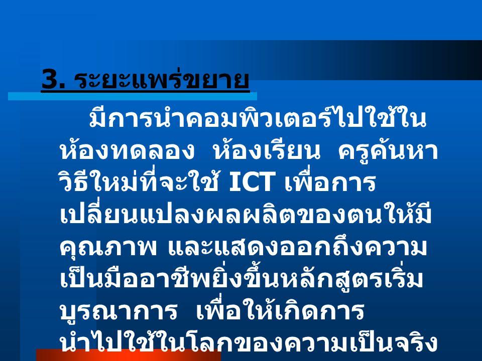 3. ระยะแพร่ขยาย มีการนำคอมพิวเตอร์ไปใช้ใน ห้องทดลอง ห้องเรียน ครูค้นหา วิธีใหม่ที่จะใช้ ICT เพื่อการ เปลี่ยนแปลงผลผลิตของตนให้มี คุณภาพ และแสดงออกถึงค