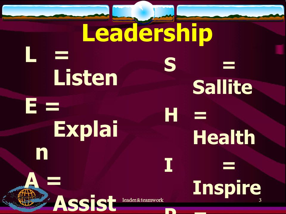 leader&teamwork3 Leadership L= Listen E = Explai n A = Assist D = Discus s E = Evalu ate R = Respo nse S= Sallite H = Health I = Inspire P = Patient