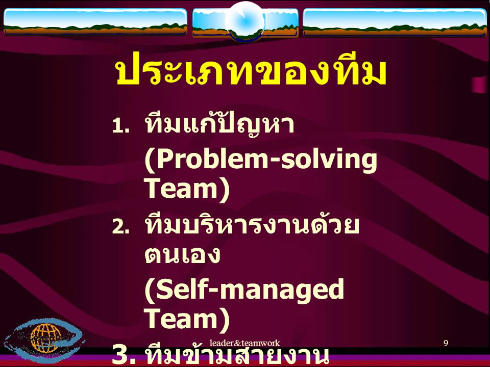 leader&teamwork9 ประเภทของทีม  ทีมแก้ปัญหา (Problem-solving Team)  ทีมบริหารงานด้วย ตนเอง (Self-managed Team) 3. ทีมข้ามสายงาน (Cross-function Tea