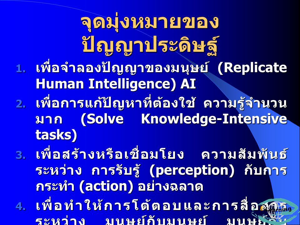 จุดมุ่งหมายของ ปัญญาประดิษฐ์  เพื่อจำลองปัญญาของมนุษย์ (Replicate Human Intelligence) AI  เพื่อการแก้ปัญหาที่ต้องใช้ ความรู้จำนวน มาก (Solve Knowledge-Intensive tasks)  เพื่อสร้างหรือเชื่อมโยง ความสัมพันธ์ ระหว่าง การรับรู้ (perception) กับการ กระทำ (action) อย่างฉลาด  เพื่อทำให้การโต้ตอบและการสื่อสาร ระหว่าง มนุษย์กับมนุษย์ มนุษย์กับ คอมพิวเตอร์ และคอมพิวเตอร์กับ คอมพิวเตอร์ เป็นไปอย่างมีประสิทธิภาพ