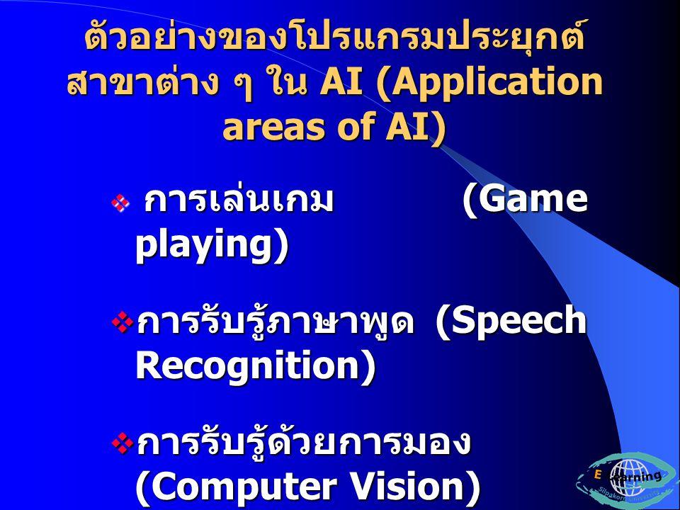 ตัวอย่างของโปรแกรมประยุกต์ สาขาต่าง ๆ ใน AI (Application areas of AI)  การเล่นเกม (Game playing)  การรับรู้ภาษาพูด (Speech Recognition)  การรับรู้ด้วยการมอง (Computer Vision)