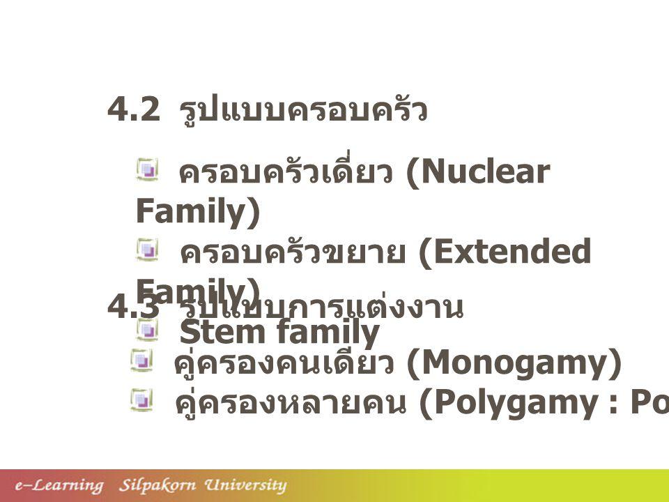 คู่ครองคนเดียว (Monogamy) คู่ครองหลายคน (Polygamy : Polygyny / Polyandry) 4.3 รูปแบบการแต่งงาน 4.2 รูปแบบครอบครัว ครอบครัวเดี่ยว (Nuclear Family) ครอบครัวขยาย (Extended Family) Stem family