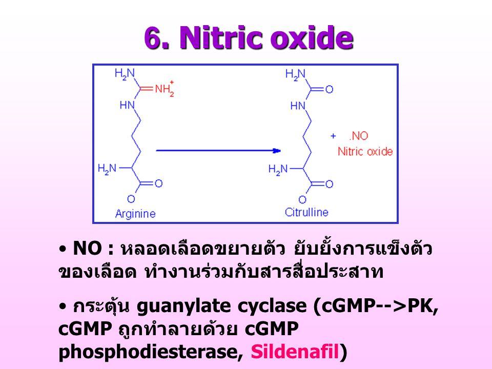 6. Nitric oxide NO : หลอดเลือดขยายตัว ยับยั้งการแข็งตัว ของเลือด ทำงานร่วมกับสารสื่อประสาท กระตุ้น guanylate cyclase (cGMP-->PK, cGMP ถูกทำลายด้วย cGM
