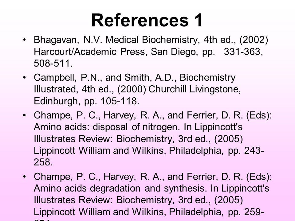 References 1 Bhagavan, N.V.