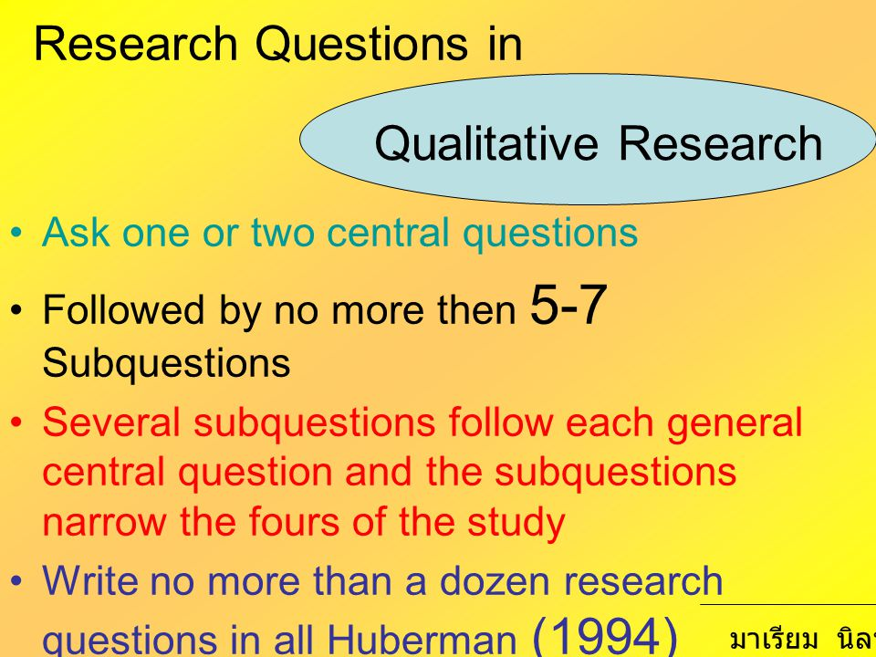 Research Questions in Ask one or two central questions Followed by no more then 5-7 Subquestions Several subquestions follow each general central ques
