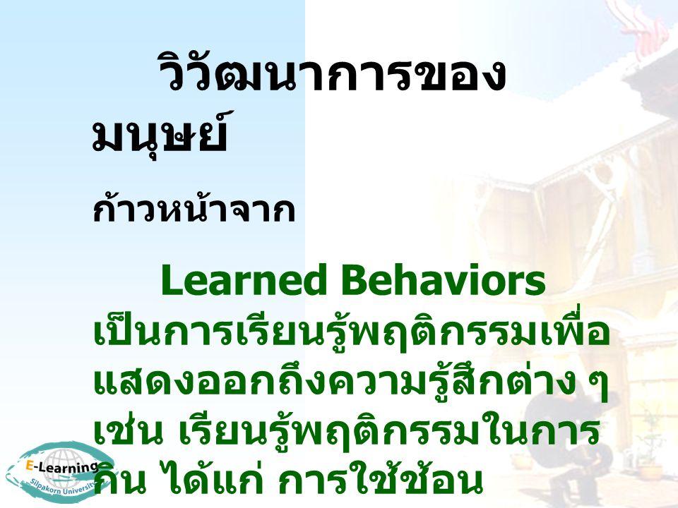 วิวัฒนาการของ มนุษย์ ก้าวหน้าจาก Learned Behaviors เป็นการเรียนรู้พฤติกรรมเพื่อ แสดงออกถึงความรู้สึกต่าง ๆ เช่น เรียนรู้พฤติกรรมในการ กิน ได้แก่ การใช้ช้อน ช้อนส้อม ตะเกียบ ฯลฯ เรียนรู้พฤติกรรมการเล่น - เล่นเปียโน
