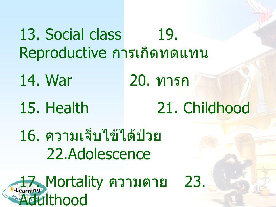 13.Social class19. Reproductive การเกิดทดแทน 14. War20.