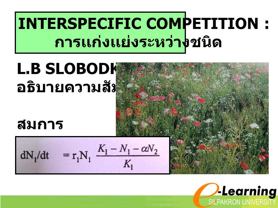 L.B SLOBODKIN อธิบายความสัมพันธ์ สมการ INTERSPECIFIC COMPETITION : การเเก่งเเย่งระหว่างชนิด