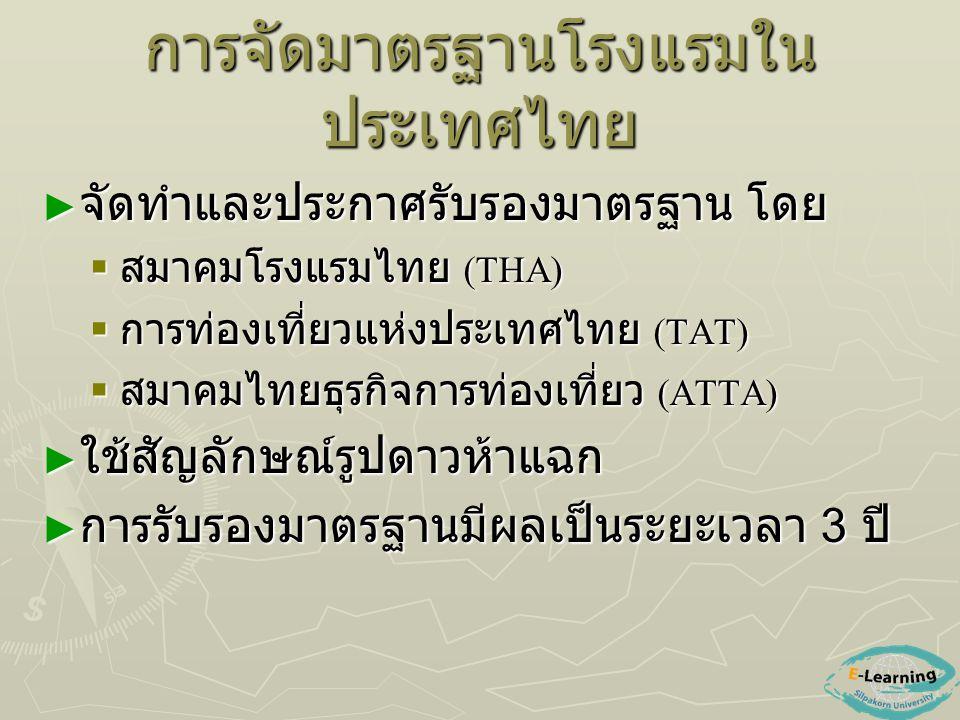 การจัดมาตรฐานโรงแรมใน ประเทศไทย ► จัดทำและประกาศรับรองมาตรฐาน โดย  สมาคมโรงแรมไทย (THA)  การท่องเที่ยวแห่งประเทศไทย (TAT)  สมาคมไทยธุรกิจการท่องเที