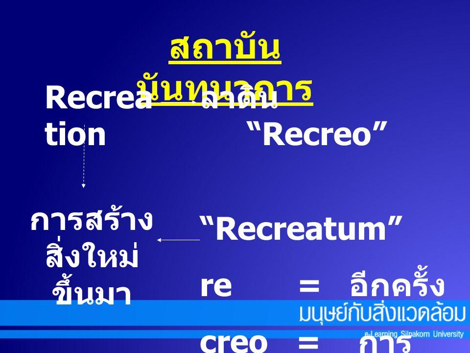 """Recrea tion ลาติน """"Recreo"""" """"Recreatum"""" re = อีกครั้ง creo = การ สร้างขึ้นมาใหม่ การสร้าง สิ่งใหม่ ขึ้นมา"""