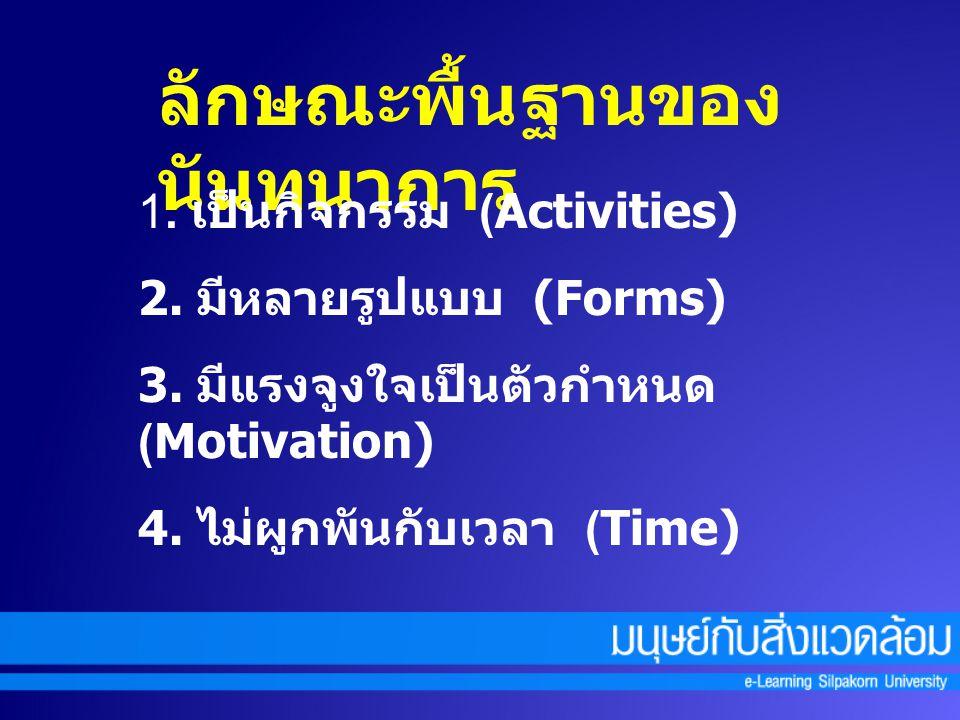 ลักษณะพื้นฐานของ นันทนาการ 1. เป็นกิจกรรม (Activities) 2. มีหลายรูปแบบ (Forms) 3. มีแรงจูงใจเป็นตัวกำหนด (Motivation) 4. ไม่ผูกพันกับเวลา (Time)