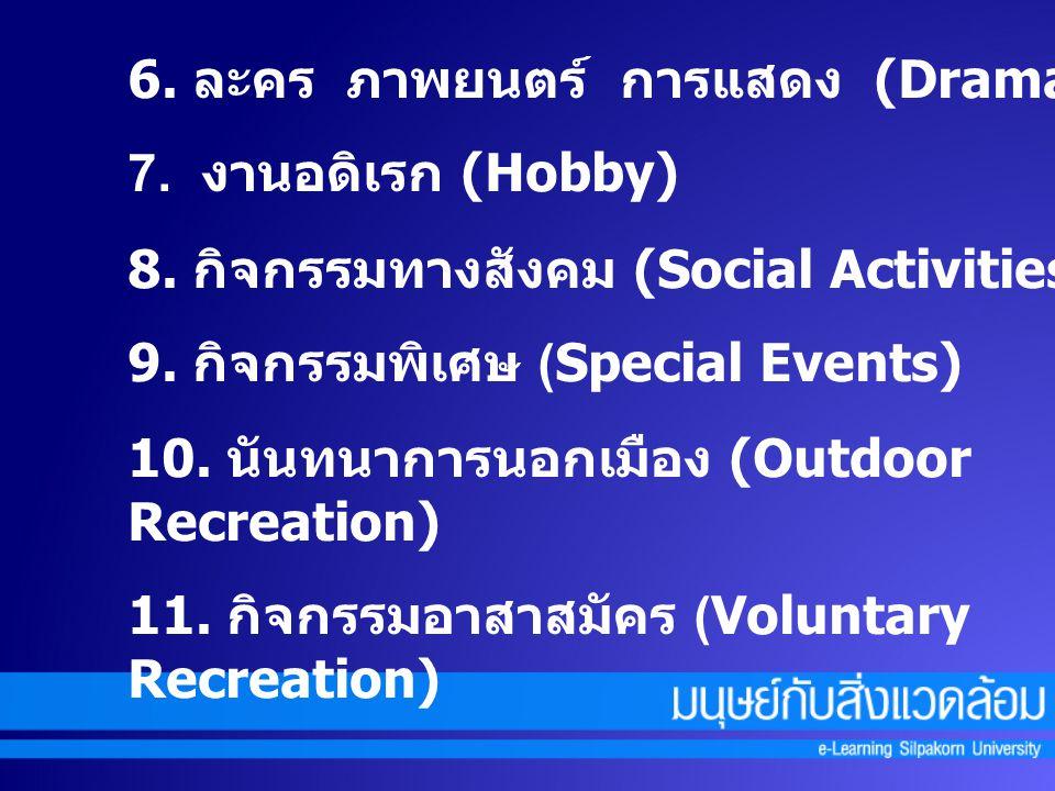 6. ละคร ภาพยนตร์ การแสดง (Drama) 7. งานอดิเรก (Hobby) 8. กิจกรรมทางสังคม (Social Activities) 9. กิจกรรมพิเศษ (Special Events) 10. นันทนาการนอกเมือง (O