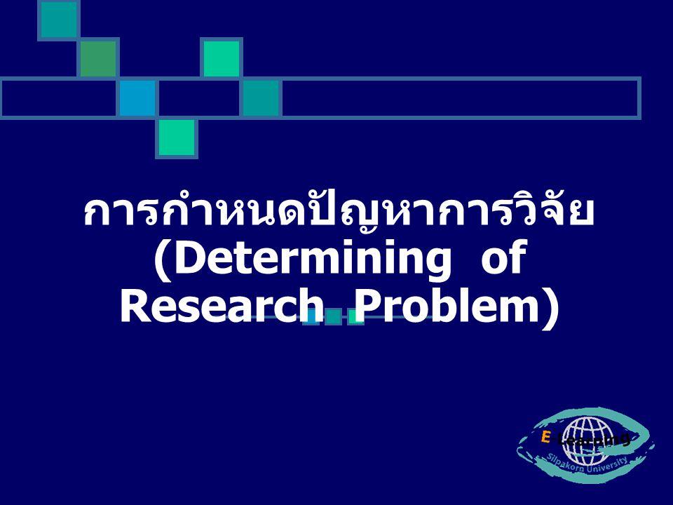 การกำหนดปัญหา ในการวิจัย - ศึกษาเรื่องที่เกี่ยวกับปัญหา ที่จะศึกษา - เป็นประเด็นที่น่าสนใจ - ไม่ซ้ำซ้อนกับปัญหาของ ผู้อื่น - กำหนดขอบเขตปัญหาให้ ชัดเจน - ใช้ภาษาที่เป็นวิชาการ กะทัดรัด ใช้คำชัดเจน - มีข้อมูลอ้างอิงน่าเชื่อถือ - ไม่กว้างเกินไป