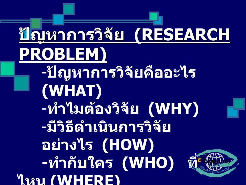 ปัญหาการวิจัย (RESEARCH PROBLEM) - ปัญหาการวิจัยคืออะไร (WHAT) - ทำไมต้องวิจัย (WHY) - มีวิธีดำเนินการวิจัย อย่างไร (HOW) - ทำกับใคร (WHO) ที่ ไหน (WH
