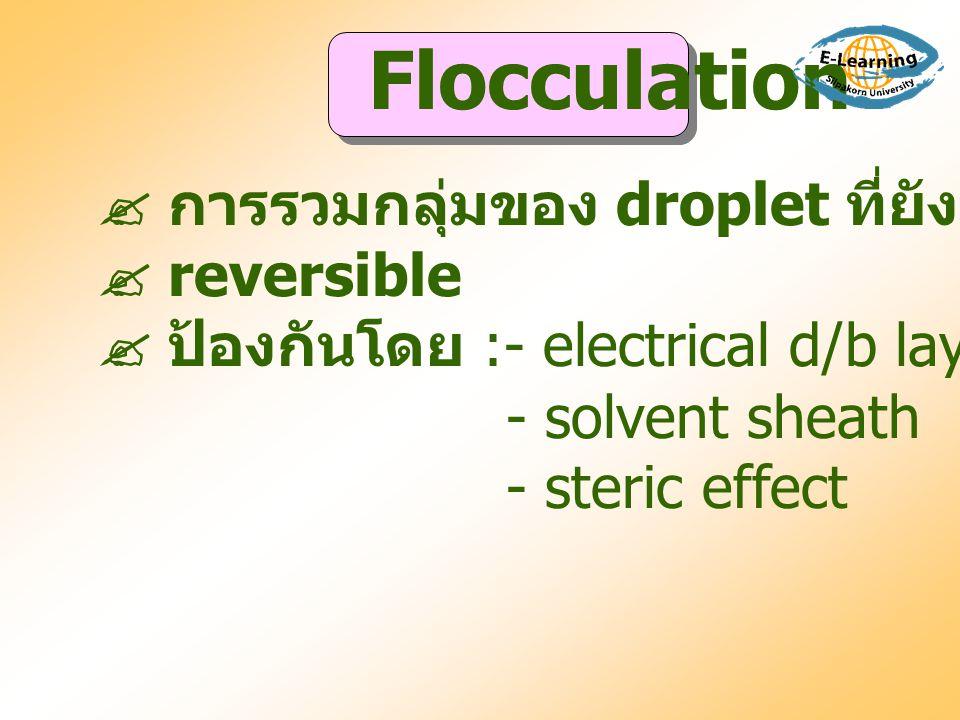  การรวมกลุ่มของ droplet ที่ยังมี interfacial film  reversible  ป้องกันโดย :- electrical d/b layer - solvent sheath - steric effect Flocculation