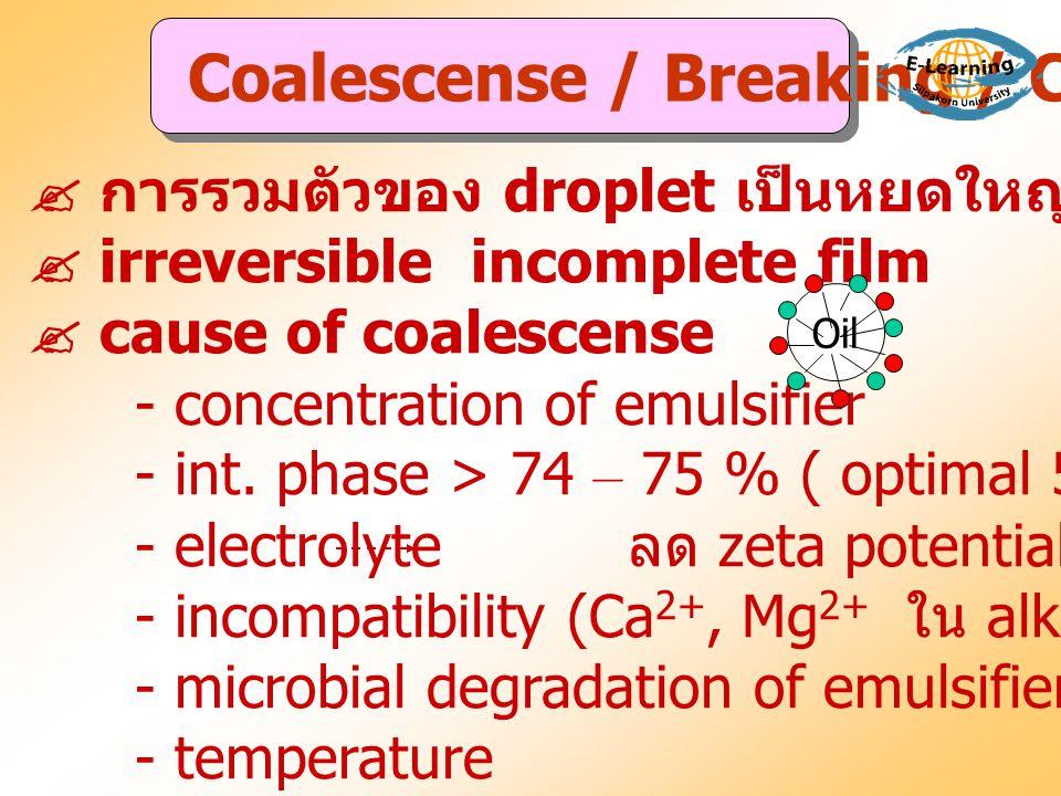  การรวมตัวของ droplet เป็นหยดใหญ่ขึ้นจนแยกเป็นสองชั้น  irreversible incomplete film  cause of coalescense - concentration of emulsifier - int. phas