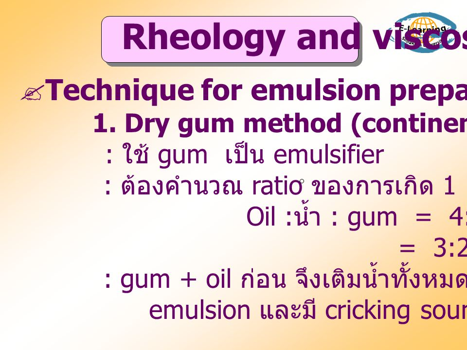 Rheology and viscosity  Technique for emulsion preparation 1.