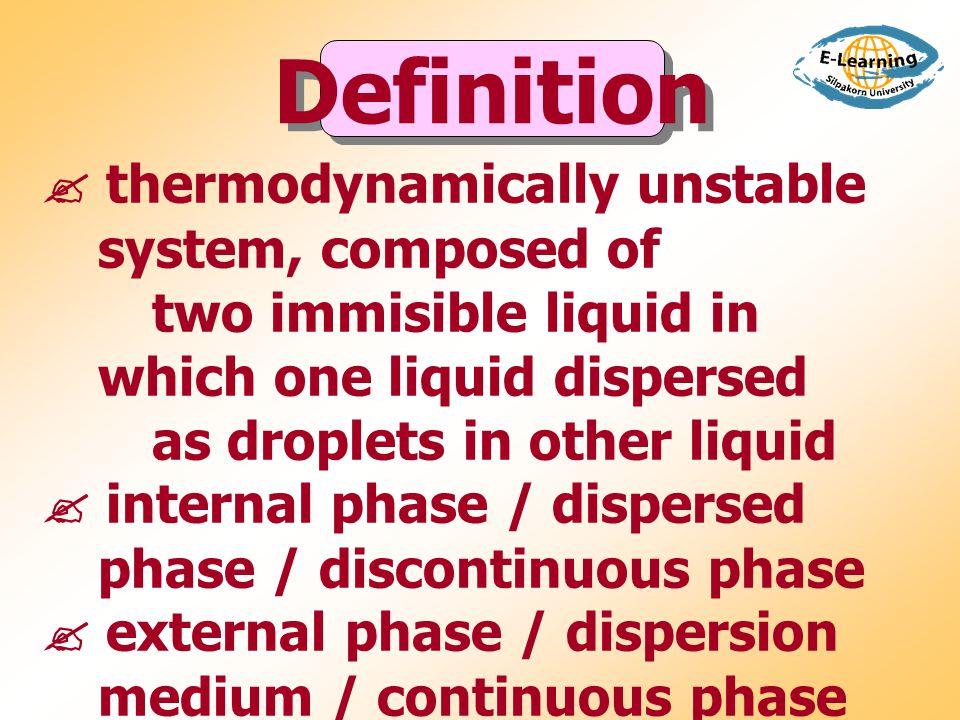  กลไกการเป็น emulsifier ของ surfactant - thermodynamic activity - mechanical barrier - electrical barrier  anionic, cationic, amphoterric, nonionic  HLB of Px and surfactant Surfactant