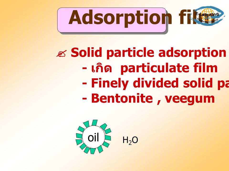  Solid particle adsorption - เกิด particulate film - Finely divided solid particles - Bentonite, veegum oil H2OH2O Adsorption film