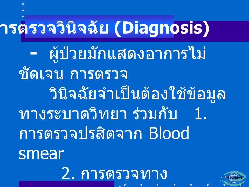 - ผู้ป่วยมักแสดงอาการไม่ ชัดเจน การตรวจ วินิจฉัยจำเป็นต้องใช้ข้อมูล ทางระบาดวิทยา ร่วมกับ 1.